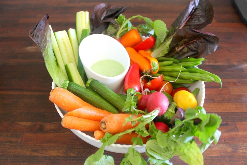 Green Goddess dip, Crudités platter, radish, carrots, bell peppers, squash