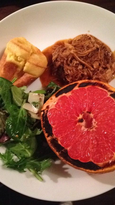 pulled pork and broiled grapefruit