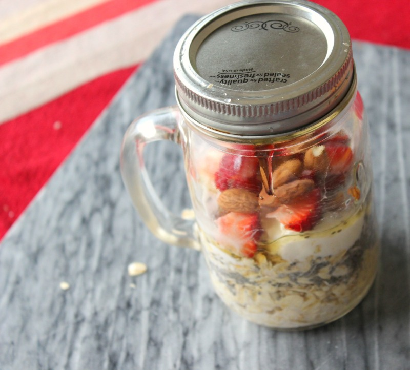 Overnight oats, mason jar, almond milk, strawberries, chia seeds, healthy breakfast