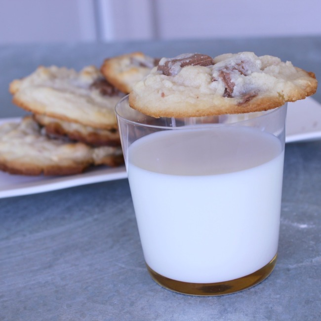 Tanya Burr White and Milk Chocolate Chip Cookie and milk
